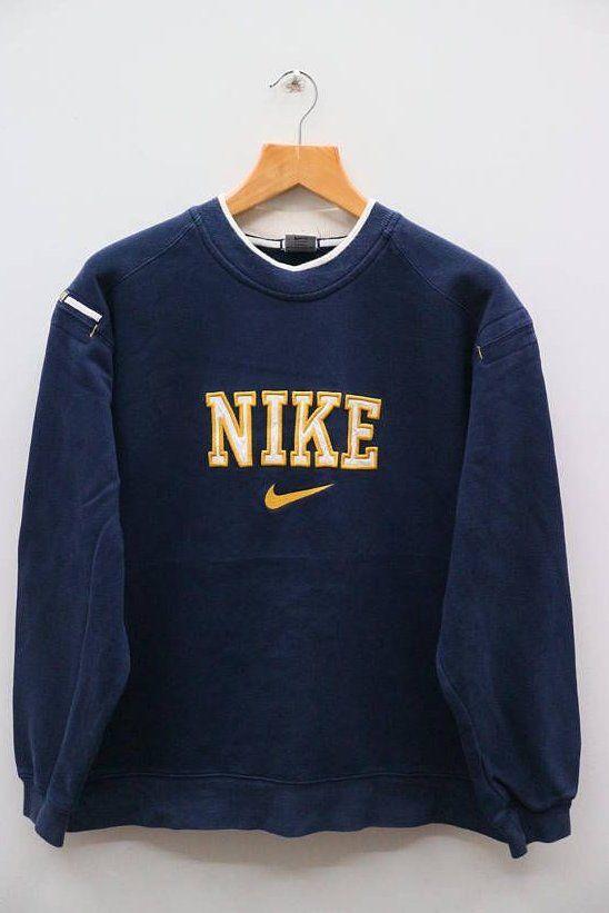 Vintage Nike Big Logo Sportswear Blue Sweater Sweatshirt Size Retrooutfits In 2020 Vintage Nike Sweatshirt Vintage Hoodies Trendy Sweatshirt