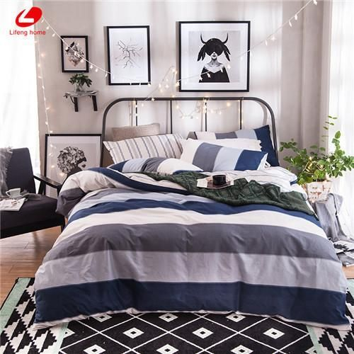 Modern Stripe Bedding Set 100 Cotton Summer Navy Duvet Cover Modernbedsheets Modern Bed Sheets Bed Next Bedroom