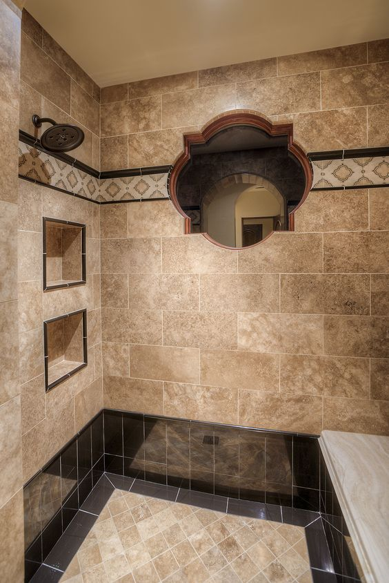 custom walk in shower with a window tile work design