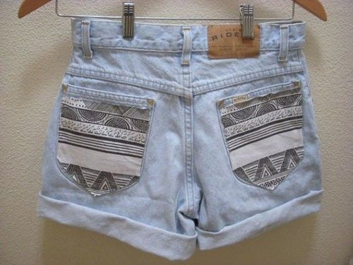 embellishyour jean shorts by buying fabric and using fabric glue to accent the pockets. easy and cheap!