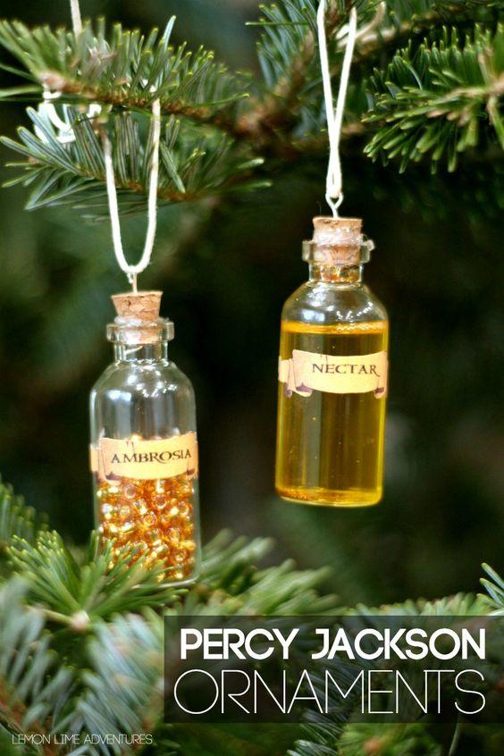 DIY Percy Jackson Ornaments | Lemon Lime Adventures --- ambrosia and nectar bottle ornaments