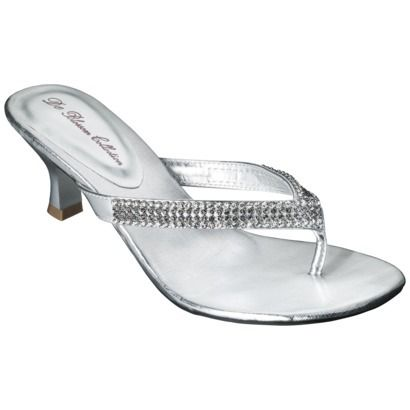 Shoes! Women's De Blossom Sarita Heeled Thong Sandal - Silver ...