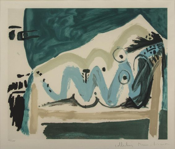 Pablo Picasso  Spanish  ne allongee et tete d'homme de profil  lithograph  editioned 461/500  16 1/4 x 19 3/4 in. (41.3 x 51.2 cm)  Estimate $ 800-1,200 Maynards Industries - Fine Art & Antiques Auction: May 6 2015 11:00 AM  www.maynardsfineart.com