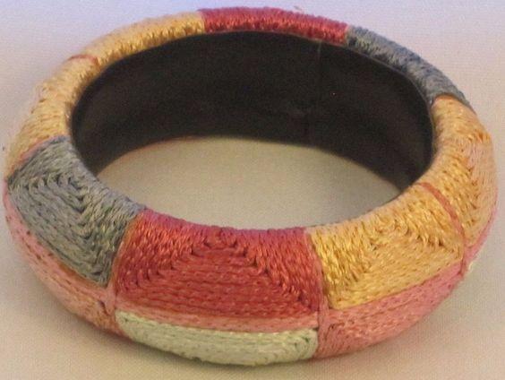 Unique Crochet Cotton Block Pastel Colors Bangle Bracelet Size Small  #Unbranded