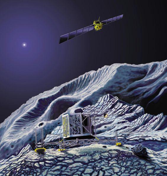 Sonda Philae pousada no cometa 67P/Churyumov-Gerasimenko, com a nave Rosetta em órbita (esboço artístico ESA)
