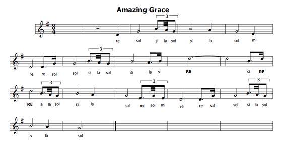 Musica e spartiti gratis per flauto dolce: Amazing Grace