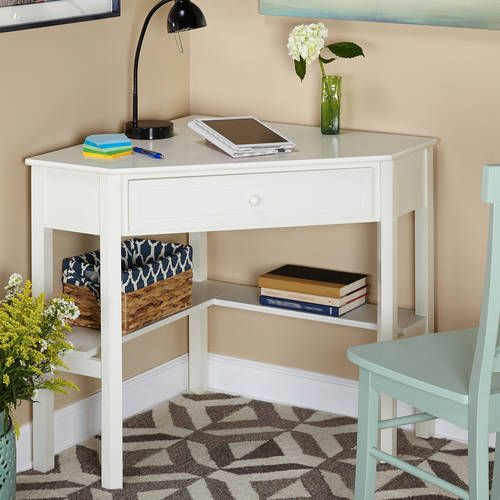 Corner Writing Desk With Pullout Drawer And Shelf Multiple Finishes Walmart Com Desks For Small Spaces Corner Writing Desk Home