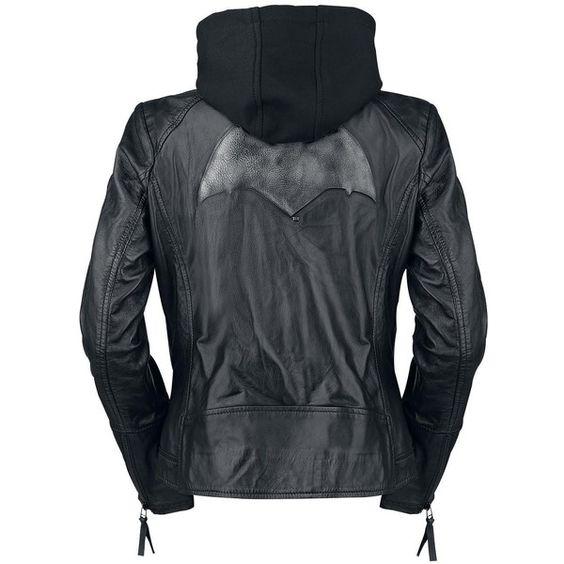 Batman Leather Jacket (£160) ❤ liked on Polyvore featuring outerwear, jackets, zipper leather jacket, print jacket, superman jacket, superman leather jacket and animal jacket