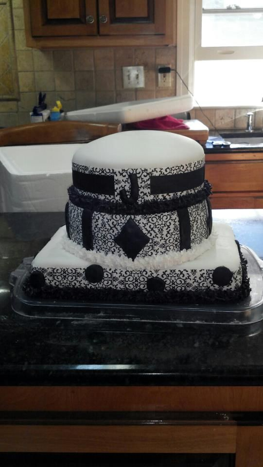 Damask fondant cake I made for my future sister in law :):
