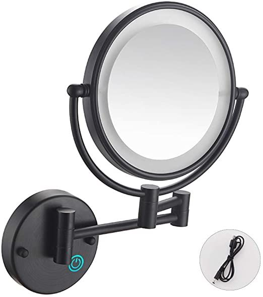 Matte Black Double Sided Wall Mounted 5x Makeup Mirror Wall Mounted Makeup Mirror Wall Mounted Magnifying Mirror Makeup Mirror