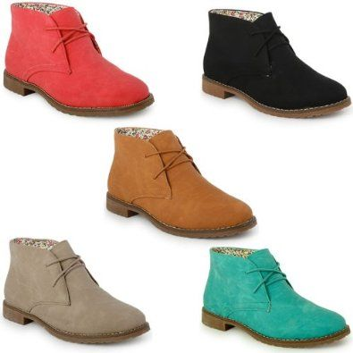 22g Womens Faux Suede Desert Lace Up Ankle Boots Ladies Flat Shoes ...