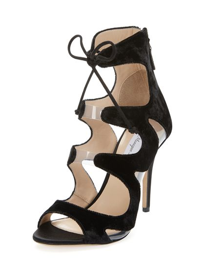 Velvet Lace Up Heel by Monique Lhuillier at Gilt