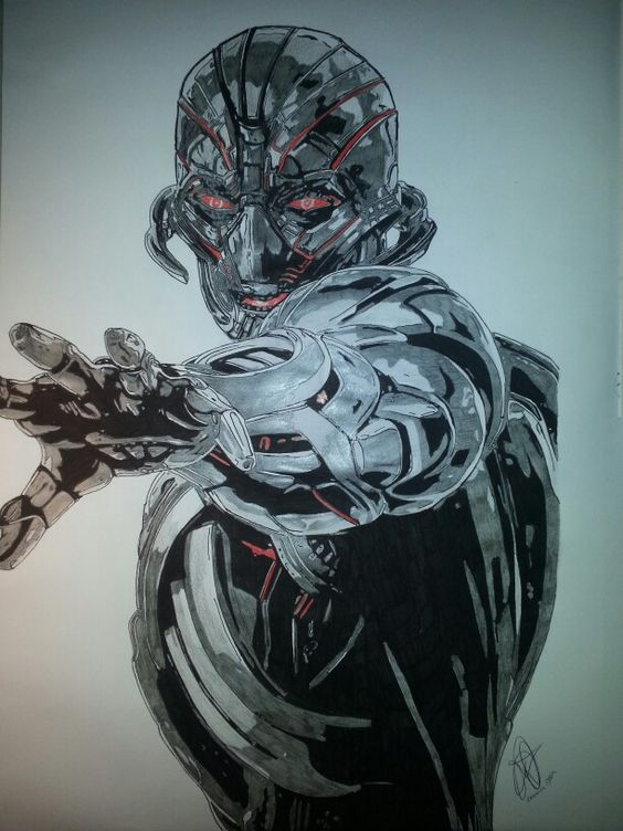 Ultron on marvel ! #avengers #marvel #fanart #drawing #stencil #art # #artworks #comics #ultron #amazing #work #pencil #color #red