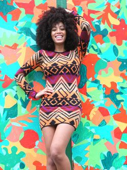 The colours and print of this dress are Fiah and need an amber spotlight!
