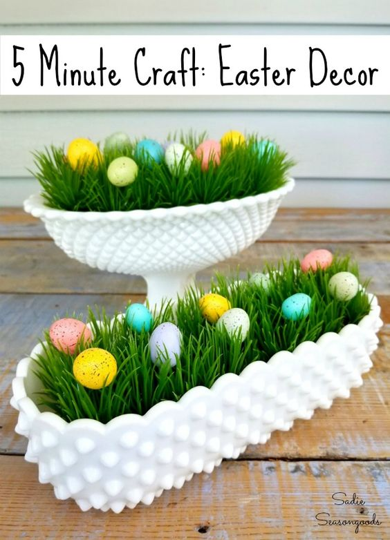 Want a 5 minute craft to make adorable Easter decor / Easter decorations? Use hobnail milk glass or vintage milk glass and upcycle it into table decorations that double as Spring decor with this adorable upcycling idea from Sadie Seasongoods! Vintage milk glass can often be found at thrift stores, too, so this repurposing project is cheap as well! Get all the DIY details at www.sadieseasongoods.com . #Easterdecor #Easterdecorations #Springdecor #5minutecraft #Springdecorations #Eastercraft
