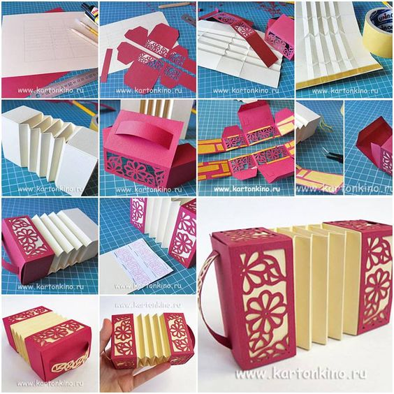 How to make paper harmonica box step by step diy tutorial for Paper craft step by step