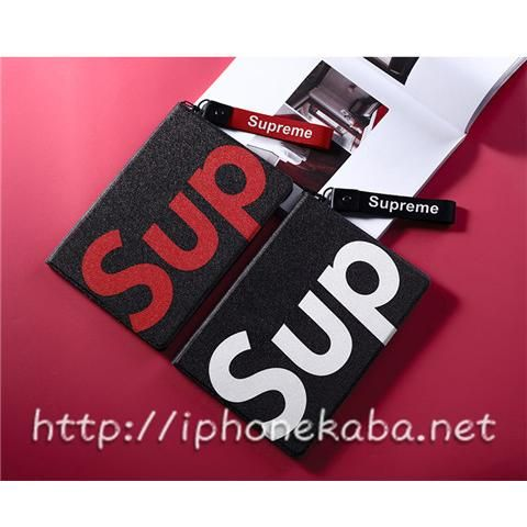 supreme ipad pro9 7 手帳ケース 韓国 シュプリーム sup logo ipad air2ケース ストラップ ipad mini2 3 4 カバー ファッション ペア アイパッドケース 男女