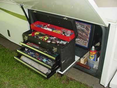 Slide drawer extended and toolbox drawers open