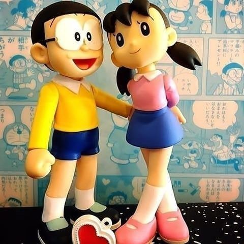 Nobita And Shizuka Wax Model Pic In 2021 Cute Love Wallpapers Animated Love Images Baby Cartoon Drawing