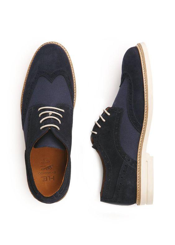 Chaussures derby perforées croûte de cuir et toile - Homme - H.E. BY MANGO