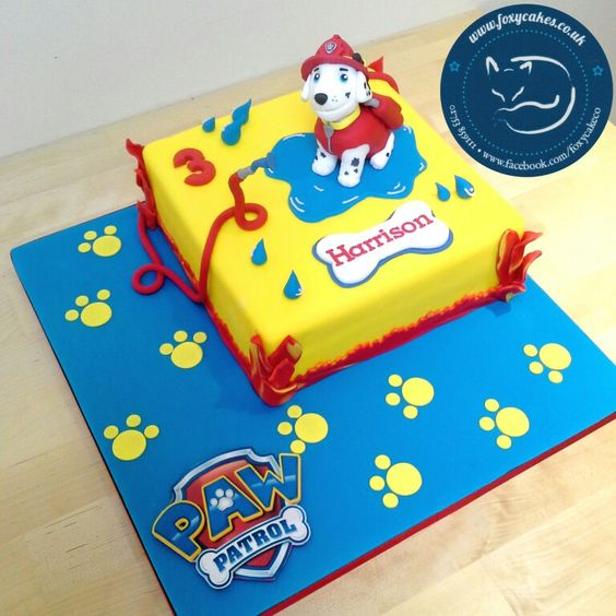 Marshall from Paw Patrol cake, made by The Foxy Cake Company!