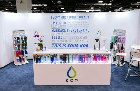 Modern trade show display for KOR water bottles at #NPEW15