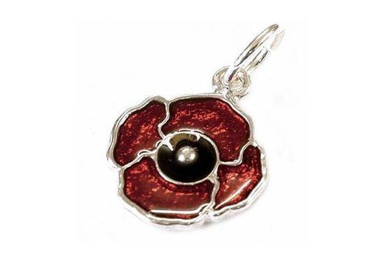 Poppy tiny sterling silver charm .925 x 1 Poppies Poppys charms SSELP1774