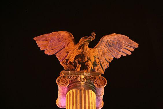 Águila, Exedra, Columna, Plaza, Postal, Aguascalientes