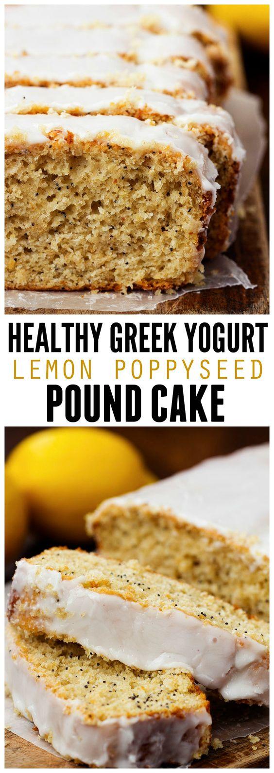 Healthy Greek Yogurt Lemon Poppyseed Pound Cake | Recipe ...