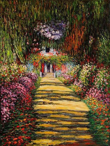Garden Path at Giverny by Monet i always loved how Monet painted his flowers
