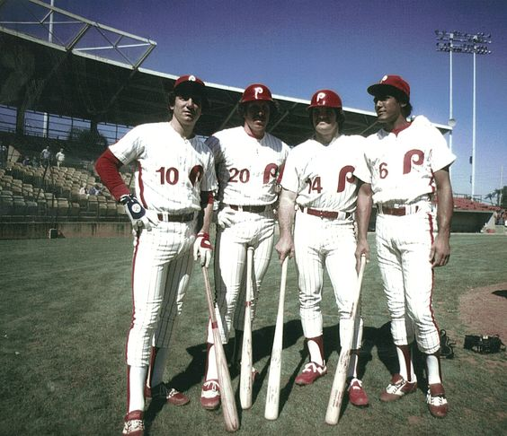 1980 World Champs infield: Larry Bowa, Mike Schmidt, Pete Rose, and Manny Trillo