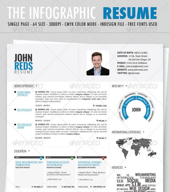 Clean Infographic Resume | Infographics | Pinterest | Infographic ...