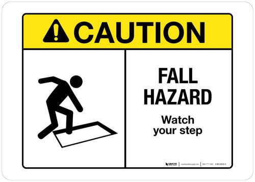 Caution Fall Hazard Wall Sign Wall Signs Hazard Safety Sign