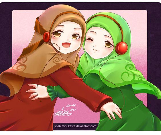 Headphones-Wearing+Anime+Muslimahs+Hugging