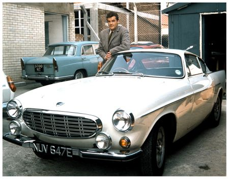 Roger Moore as The Saint with his Volvo P1800
