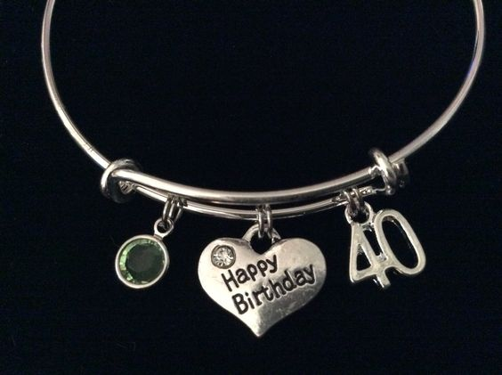 Happy 40th Birthday With Birthstone Expandable Charm Bracelet Adjustable Bangle 40th Gift