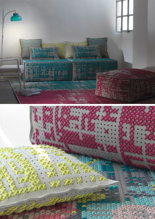 Charlotte Lancelot's gorgeous stitched furnishings (via More Design Please)