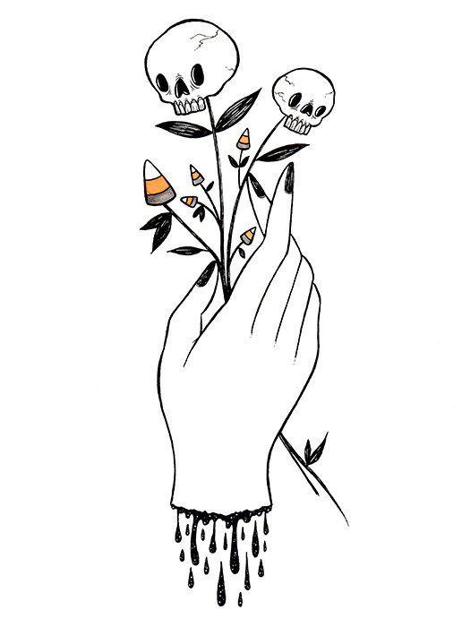 Hand With Skullflowers 8x10 Print With Images Halloween