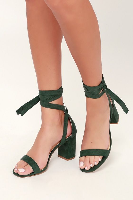 Airis Green Suede Lace-Up Heels   Lace