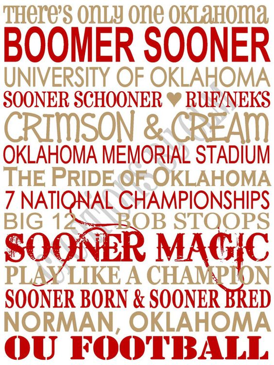 Subway Art - University of Oklahoma Sooners. OU. BOOMER SOONER.  'Rustic' Looking Canvas, by Creations by CLM on Etsy!