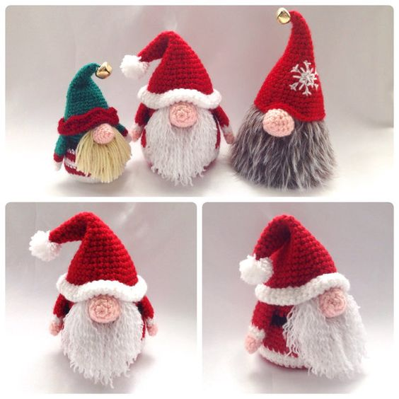 Decoraciones de la Navidad Santa Gonk - patrón de ganchillo PDF