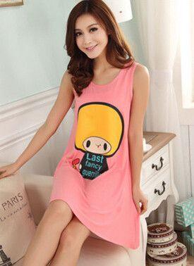 2016 Summer Women's Nightgowns Sleeveless Tank Dress Cute Girls Sleepwear Cartoon Character Printed Free Shipping