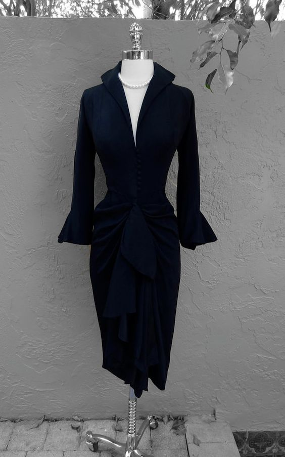 Vintage 1940's Ceil Chapman Black Crepe Draped Cocktail Dress