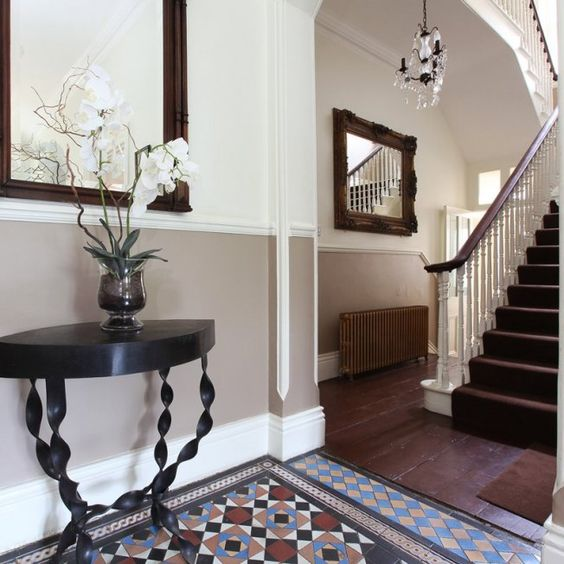 Grey Panelling Under Stairs: Dado Rail And Runner