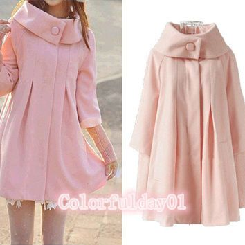 women's Princess style pink cape Fitted Wool Coat jacket Wool Cape coat winter coat jacket cute coat XS-XXL