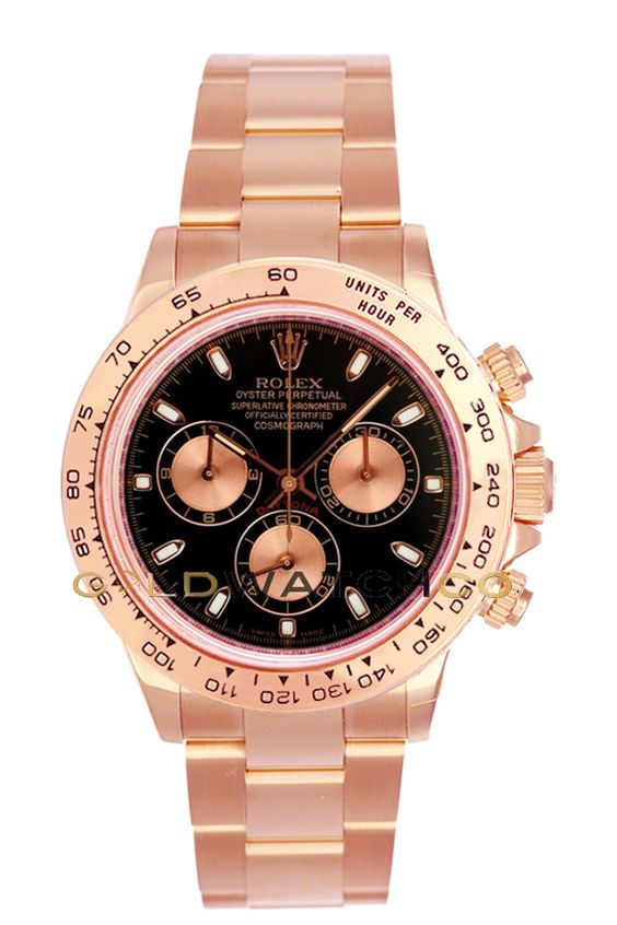 #Rolex 40mm 18K Rose Gold Daytona Model, Black Face.: