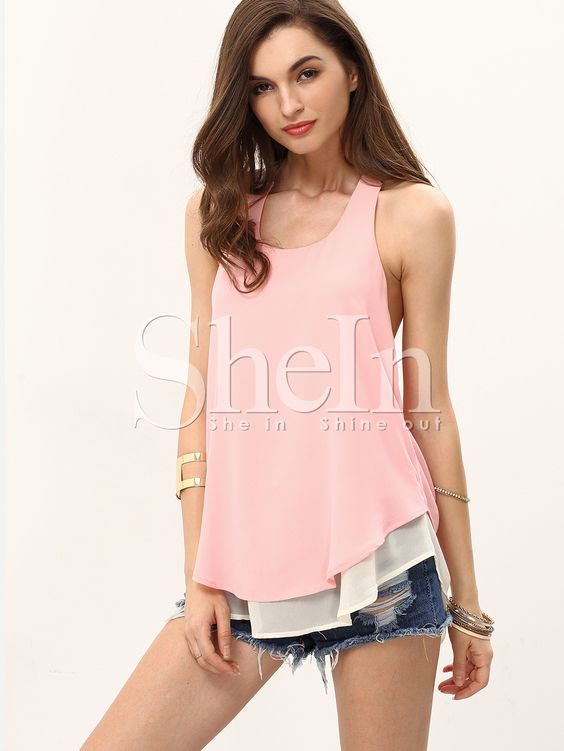 Chiffon Tank Top ärmellos mit Cutouts am Rücken -rosa- German SheIn(Sheinside)