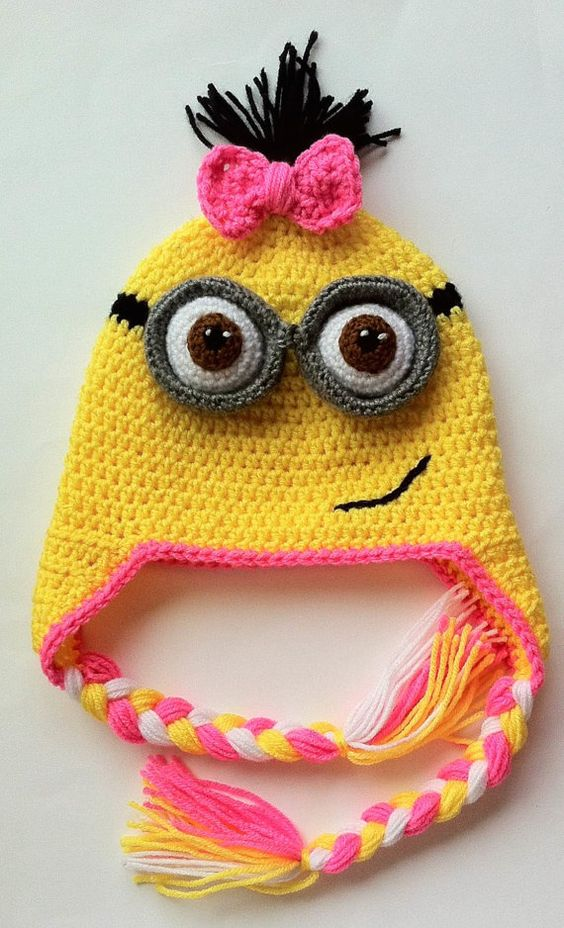 Despicable Me Girl Minion Inspired Hat Ear Flaps and by InChains, $27.00