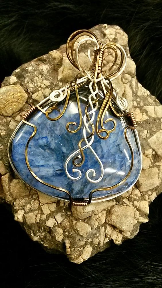 Large Blue/Black Agate Druzy Wire Wrapped by RockinWireCreations