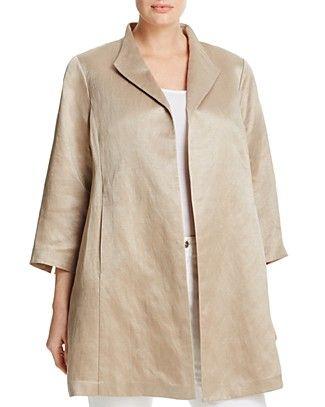 Eileen Fisher Plus Silk Satin Coat